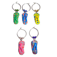 Flip Flop Wine Charms, Set of 5
