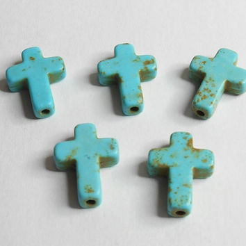 Cross Turquoise Howlite Spacer Bead