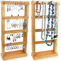 Jewelry Organizer - Jewelry Holder Stand, Wood, Cherry, plus Necklace Holder. Holds up to 40 pairs plus 4 pegs. Earring Display