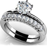 18k White Gold, Diamond Solitaire Studded Band Bridal Set, 1.61 ct. (Color: HI, Clarity: SI2)