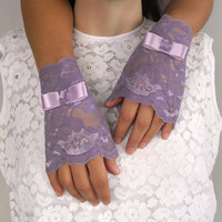 Purple fingerless lace gloves lilac cuffs handmade by mammamiaeme