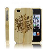 Handmade Bamboo iPhone 4 Cases Hand Carved Big Tree by bestitems