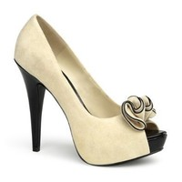 5 1/2 Inch Sexy High Heel Shoes Concealed Platform Cream Suede Peep Toe With Ruffle