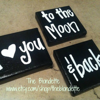 I love you to the moon and back. Nursery. Quote canvas. 4 x 4 inch and 4 x 5 inch