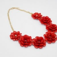 J Crew Inspired Red Resin Flower Beaded Rose Flower Statement Necklace, Bubble Necklace, Wedding Accessories
