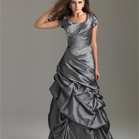 Slim A-line Scoop Cap Sleeves Beaded Pick-up Taffeta Modest Prom Dress PD10565