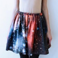 Red Prints Skirt - Crimson Galaxy Starcluster Skirt | UsTrendy