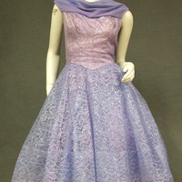 Purple Metallic Lace & CHiffon 1960's Party Dress VINTAGEOUS VINTAGE CLOTHING