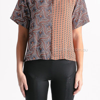 skate mates top - rust red/blue - SALE at Esther Boutique