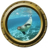Porthole Vinyl Wall Decal - The Curious Seal | WilsonGraphics - Earth Friendly on ArtFire