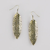 Gold Long Leaf Earrings | World Market