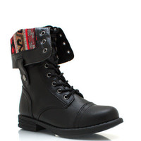 Southwestern-Lace-Up-Combat-Boots BLACK BROWN COGNAC - GoJane.com