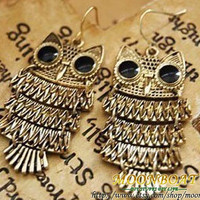 Antique Brass Cute Owl Pendant Earrings MB080 by moonboat on Etsy