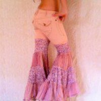 Upcycled Clothing â?? Pink Pants â?? One of a Kind Reconstructed Pink Bell Bottom Flare Hippie Jeans â?? Size 4 | Shades of Exaltation