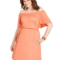Flutter Sleeve Belted Off The Shoulder - Plus dress