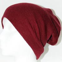 Ribbed Beanie Hat Slouch Style Skull Cap Ski Hat Burgundy:Amazon:Everything Else