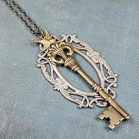 Secret garden necklace skeleton key bird filigree by mylavaliere