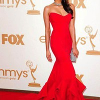 Vogue Red Mermaid Emmy Awards Celebrity Party Long Prom Ball Gown Evening Dress