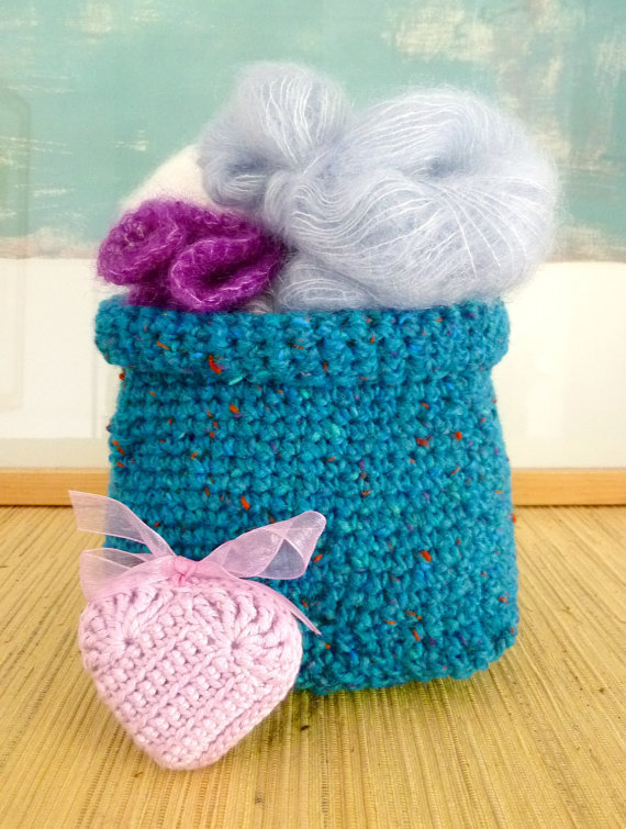 Crochet Basket in Teal Blue  Christmas Gift by wheretheresawool