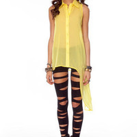 Lean With It Button Down Shirt in Yellow :: tobi