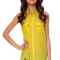 You Missed a Button Down Shirt in Lime :: tobi