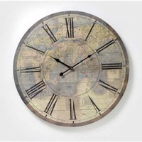 Buy Large Wooden Vintage Style Atlas Map Clock