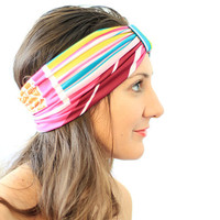 Summer Headband in Geometric Stripes by mademoisellemermaid