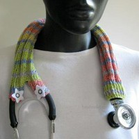 Stethoscope cover knitted in fun colors by handmadefuzzy on Zibbet
