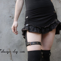 RIVAL Mini ruffle skirt with leather garter by tahnaya on Etsy