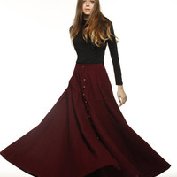Graceful Wine Red Big Sweep Long Maxi Woolen Skirt  - NC199
