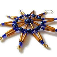 Christmas ornament seed bead star ornament beaded star in brown and blue