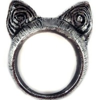 Unique Retro Style Cute Cat Ears Ring - Color: Nickel - Size 7