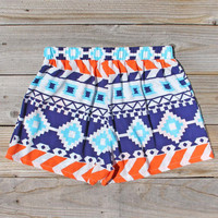 The Billy Native Shorts in Blue, Women's Sweet Bohemian Clothing