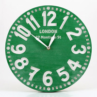 Vintage clock -London emerald green Light- pseudo vintage birch clock hand painted