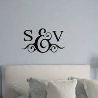 Personalized Love Monogram Couples Initials Vinyl Letters Wall Lettering Decal