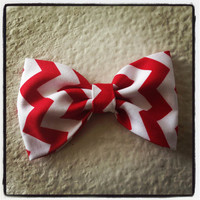 Chevron Zigzag Red print handmade fabric bow by Bowliciousdivas