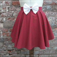 Cute Short Red Polka Dot Full Circle Skirt