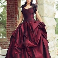 Bustle gown Red Corset Gown Masquerade Prom Gothic prom gown steamp...... | TheSecretBoutique - Clothing on ArtFire
