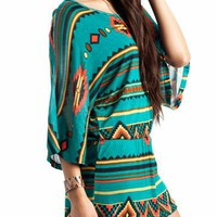 tribal print dress &amp;#36;33.40 in TEAL - Tribal | GoJane.com