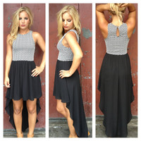 Black Hi Lo Dress with Chevron Bodice