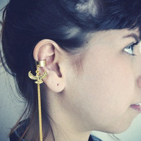 Egyptian Phoenix Gold Chain Ear Cuff by francisfrank on Etsy