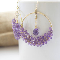 janice stevenson — Amethyst Hoop Earrings
