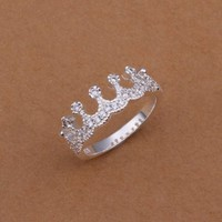 DUMAN Fashion Jewelry Ring 925 Silver Plated Rhinestone Ring Valentine's day, Christmas Gifts Size 8