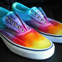 Tie dye slip on shoes