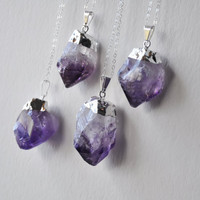 Silver Dipped Raw Amethyst Necklace
