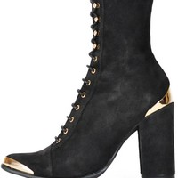 Jeffrey Campbell Black Suede Antonio Lace Up Boot