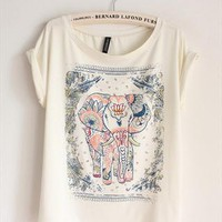 Cotton T-shirt with Walking Elephant Print from topsales