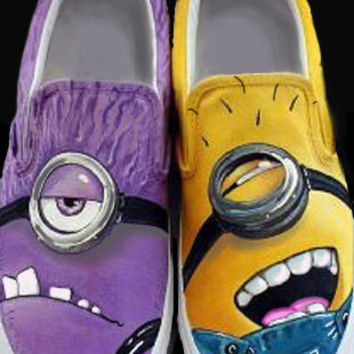 Despicable Me 2  Good VS Evil Minion. Custom Painted Shoes.  Purple and Yellow Minions UNITE