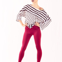 Burgundy Yoga Pants Foldover Waistband