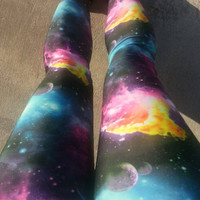 Neon Galaxy print leggings.  Soft stretch lycra fits many sizes.